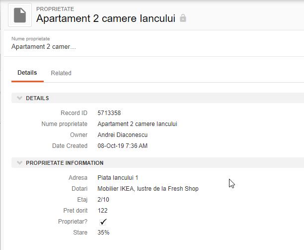 print screen din soft CRM imobiliare, cu informatii despre un apartament de doua camere