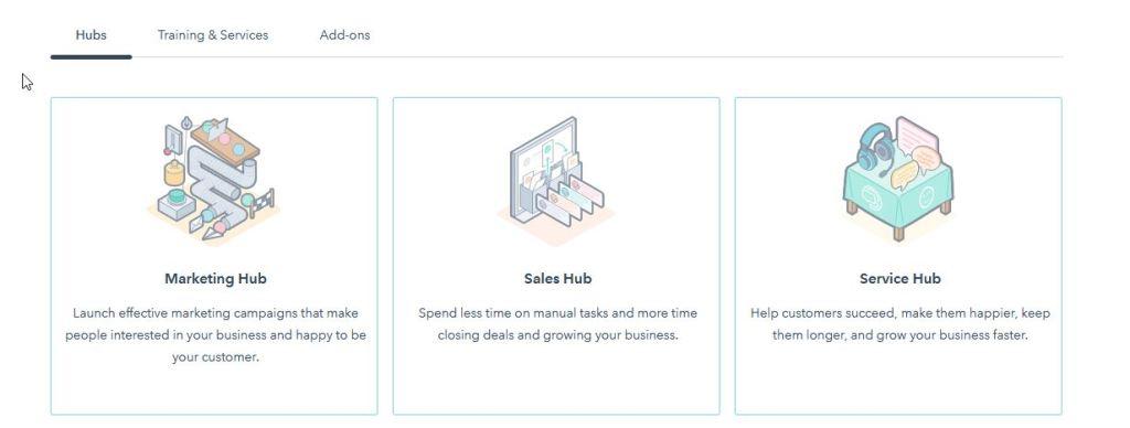 hubspot CRM hub-uri disponibile
